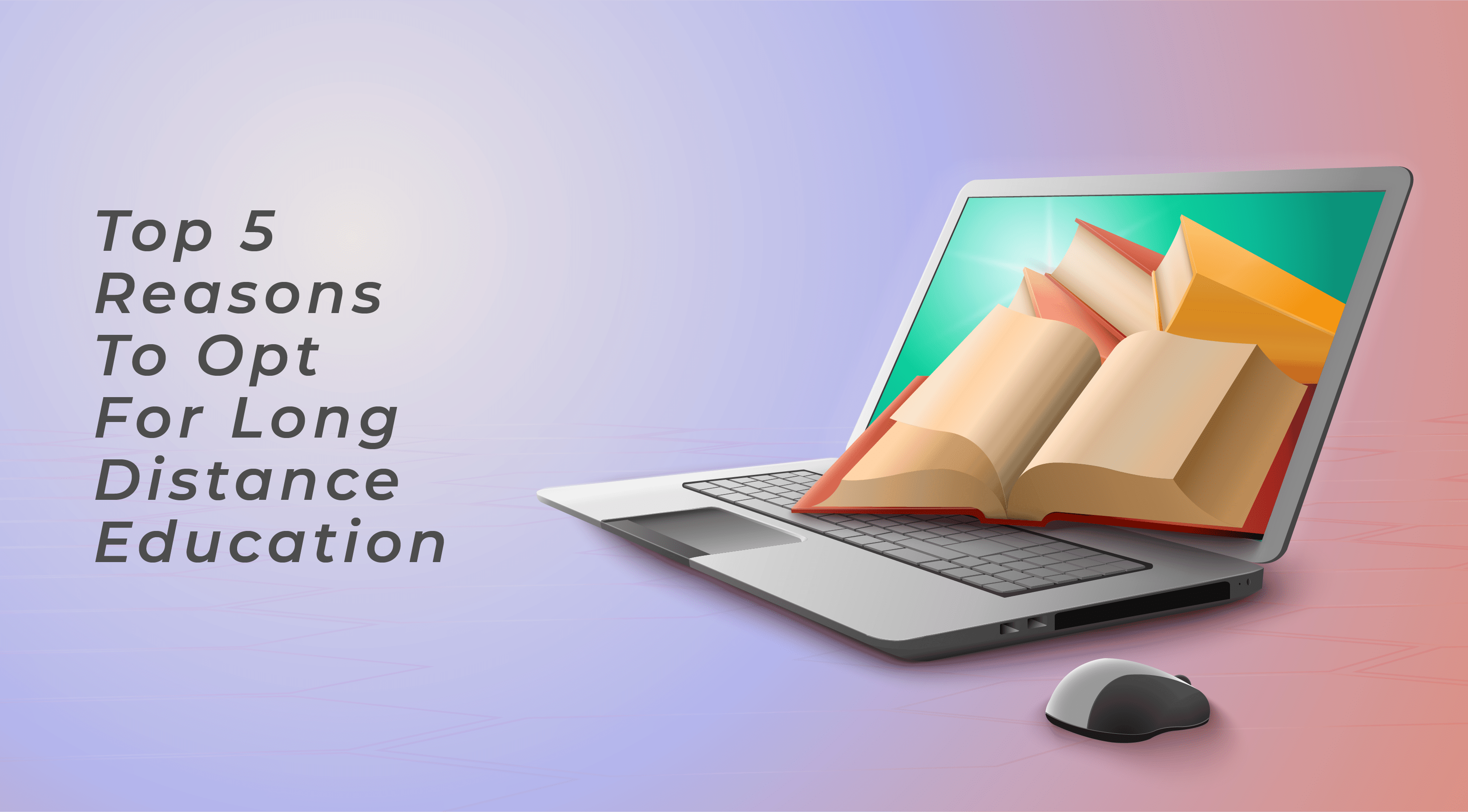 Photo of a laptop and image illustration of books symbioses long distance education